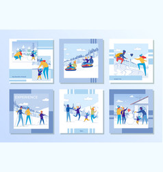 family winter vacation and outdoor fun set vector image