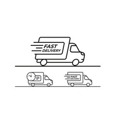 fast delivery shipping truck set icons vector image