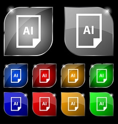 File ai icon sign set of ten colorful buttons with vector