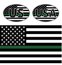 Flags us police with green line vector