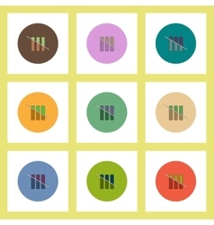 Flat icons set of half column chart concept on vector