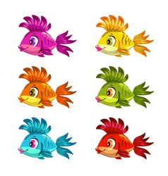 Funny cartoon colorful fishes set vector