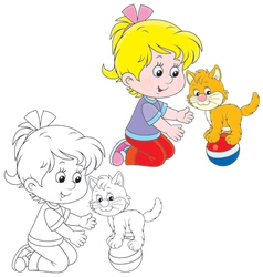 Girl and kitten vector image