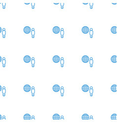 Globe and man icon pattern seamless white vector