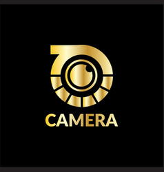 gold camera technology logo vector image