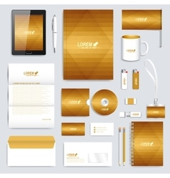 Golden set of corporate identity template vector image
