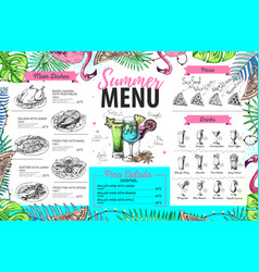 hand drawing summer menu design with flamingo vector image