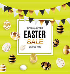 happy easter cute sale poster background with eggs vector image