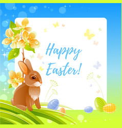 Happy easter greeting card with bunny blue sky vector