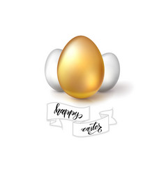 Happy easter greeting on white background vector