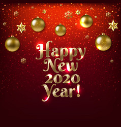 happy new year card with golden balls vector image