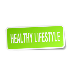Healthy lifestyle square sticker on white vector