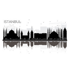 Istanbul city skyline black and white silhouette vector