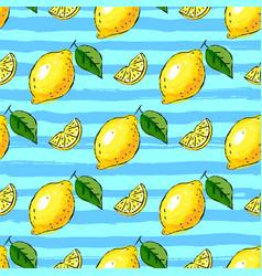 lemon tropics seamless pattern hand-drawn vector image