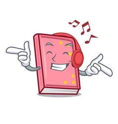 Listening music diary mascot cartoon style vector