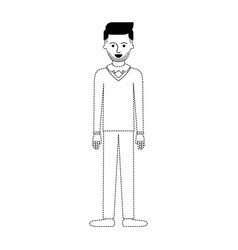 Man full body with stubble beard and sweater and vector