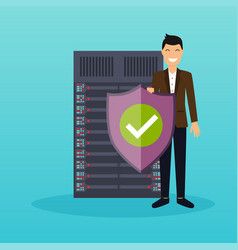 Man with protection shield on a server background vector