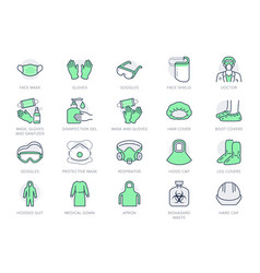 medical ppe line icons vector image