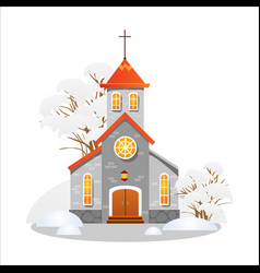 merry christmas and happy new year card church vector image