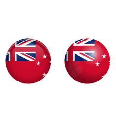 New zealand red ensign flag under 3d dome button vector