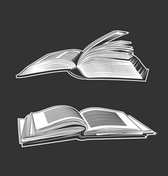 open books white silhouettes vector image