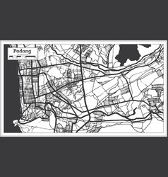 Padang indonesia city map in black and white vector