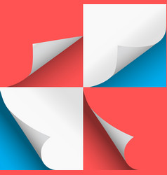 pages curl set stylish blue and red design vector image