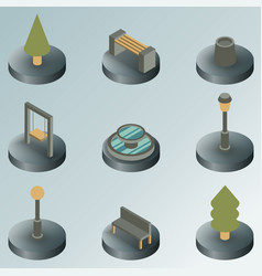 park color isometric icons vector image