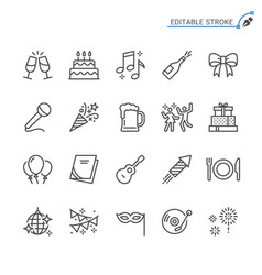 party line icons editable stroke vector image