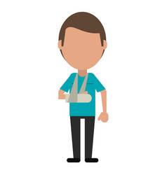 Patient with arm plaster vector