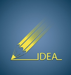 Pencil writes the word idea vector