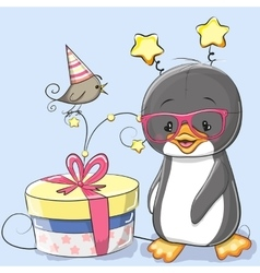 Penguin with gift vector image
