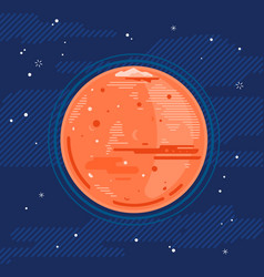 planet mars in space in flat style vector image