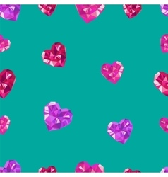 Polygonal crystal hearts seamless pattern vector