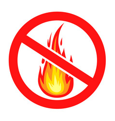 Prohibition sign do not light a fire icon vector