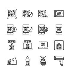 qr code related icon set vector image