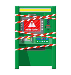 Robbed atm with warning ribbons vector