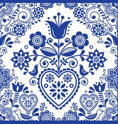 seamless folk art pattern with birds vector image