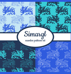 Seamless patterns with slavic symbol simargl vector