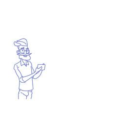 senior man hipster using cell smart phone social vector image