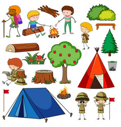 Set camping objects isolated vector