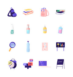 Set icons student rucksack books and school vector