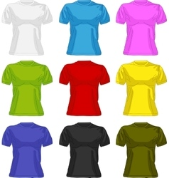 Set of colorful female t-shirts vector image vector image