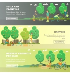 Set of gardening concept horizontal banners vector