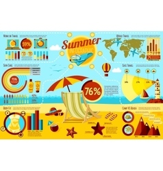 Set of Summer and Travel Infographic elements with vector