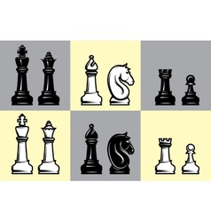sets black and white chess with part the vector image