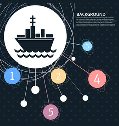 ship boat icon with the background to the point vector image