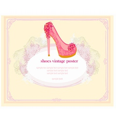 shoes vintage poster card vector image