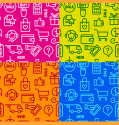 shopping seamless patterns vector image