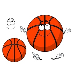 Smiling cartoon basketball ball with a cute grin vector image